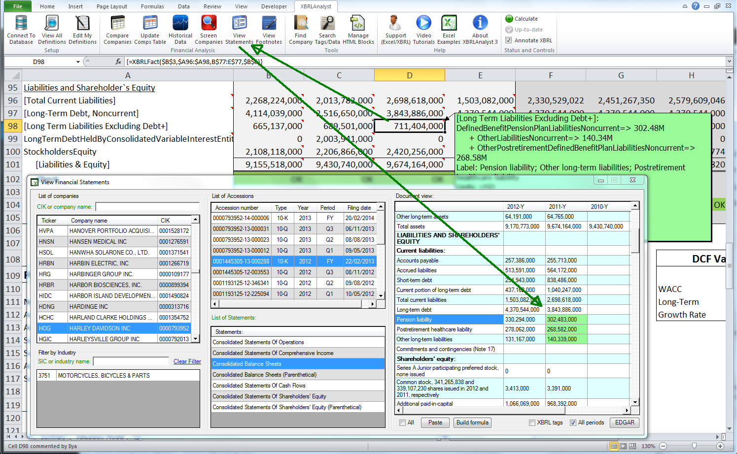 XBRLAnalyst delivers financial data to Excel   FinDynamics